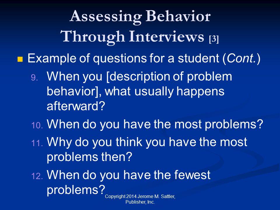 Assessing Behavior Through Interviews [3]